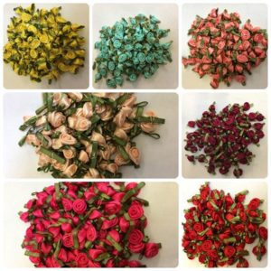 Small Satin Ribbon Roses Buds Embellishments