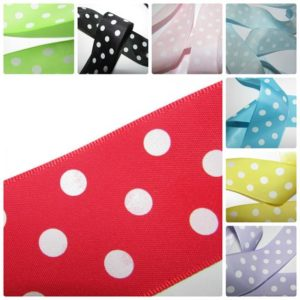 Polka Dot Ribbon Pink,Red,Yellow,Lilac,Turquoise,Lime,Black Blue