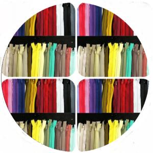multi-coloured round zips