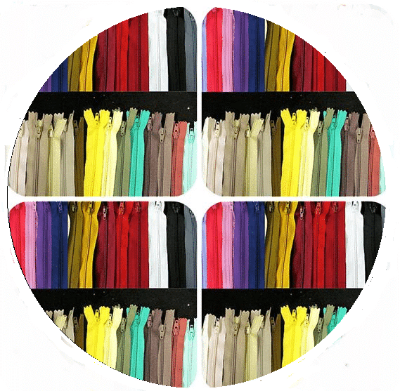 multi-coloured round zips