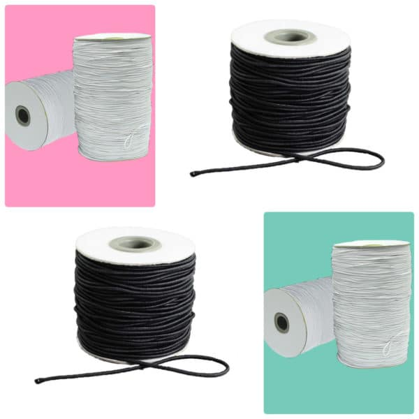 Round Elastic White & Black 1mm & 2mm - Wholesale Rolls