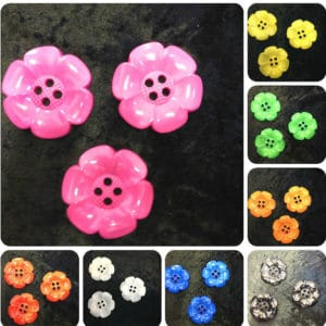 Flower Petal Oversized Buttons - Bright Colours - Size 60 mm