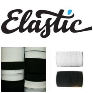 "Elastic - Black & White - 8 Widths - Black, 4"""