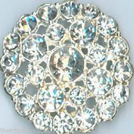 Silver Crystal Clear Diamante Buttons For Wedding, Bridal, Costume,Craft