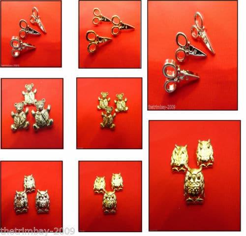 Novelty Silver & Gold Scissors Teddy Bear & Owl Buttons
