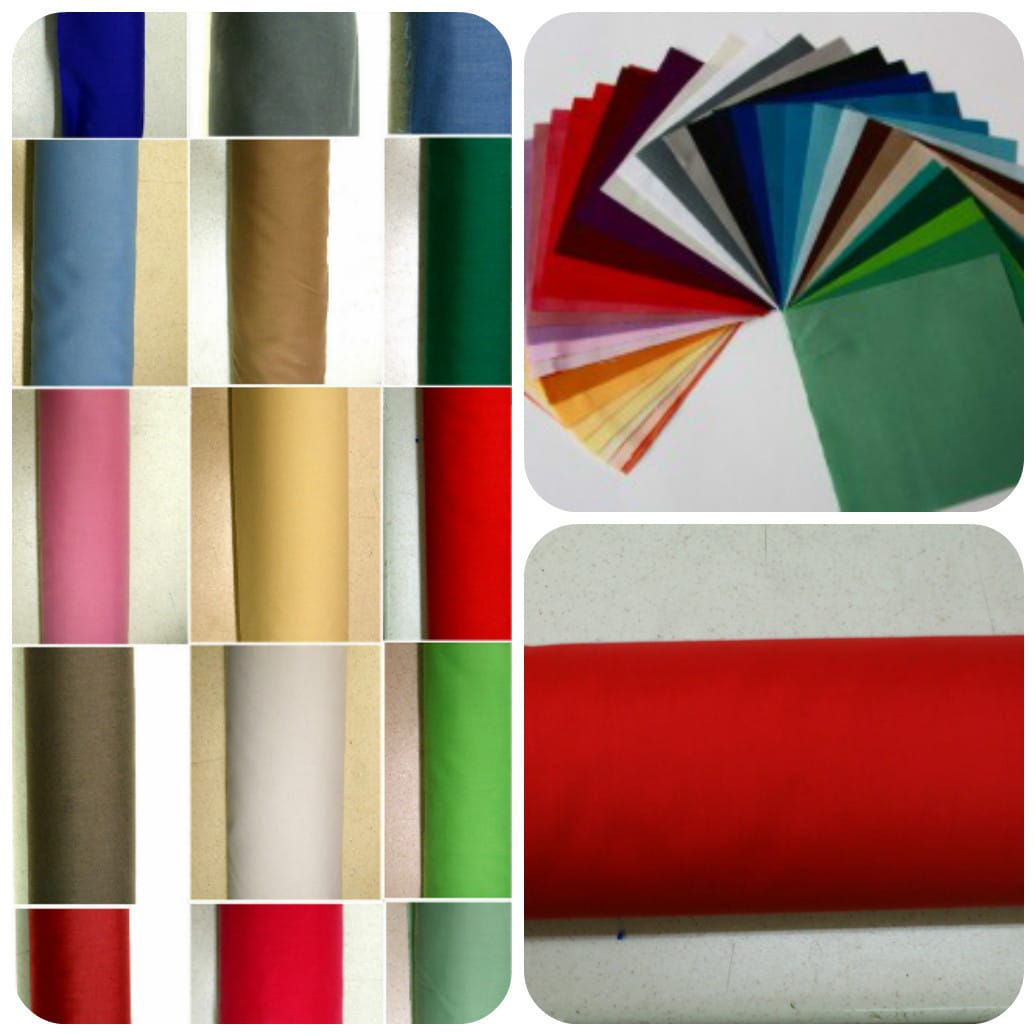 Plain Coloured Polycotton Dress Fabric 115cm Wide Wholesale Rolls