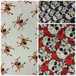 Skulls & Spiders Poly Cotton Dress Fabric