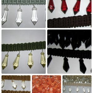 Designer Drop Shaped Beaded Trim - 7 Colours