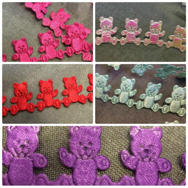 Teddy Bear Satin Braid - Cerise - Red - Mint - Purple