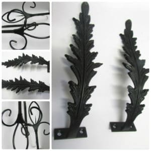 Black Fleur De Lis Hold Back & Black Feather Holdbacks