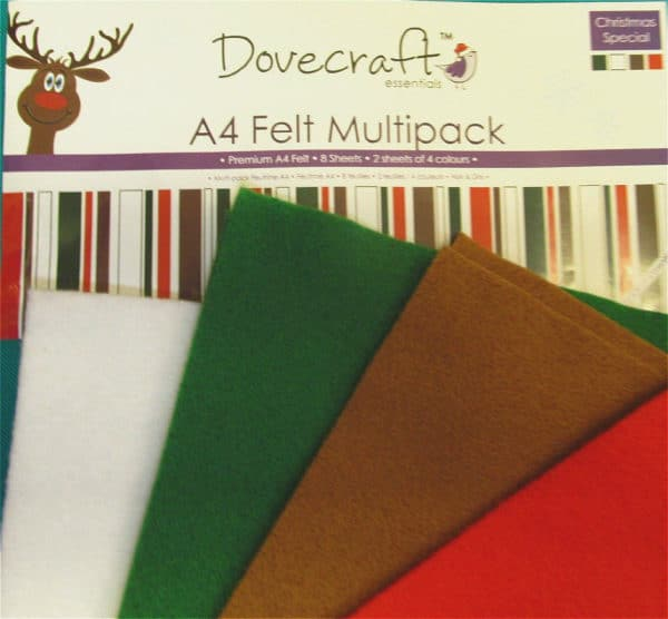 Dovecraft Premium A4 Felt -8 sheets-2 Sheets of 4 Colours