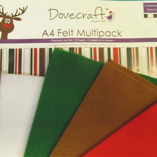 Dovecraft Premium A4 Felt -8 sheets-2 Sheets of 4 Colours