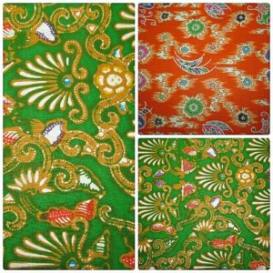 oriental pattern green and orange fabric online