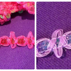 Mauve & Hot Pink Sequin & Organza Trim By The Metre