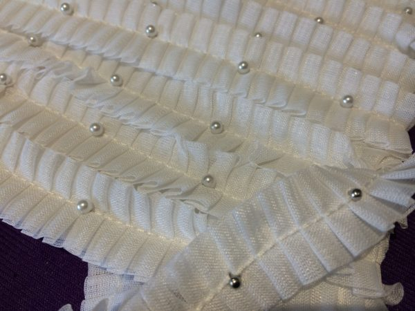 White Pearl Ruched Trim By The Metre - White