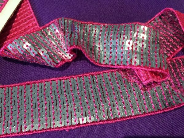 Silver & Pink 35mm Sequin Trim By The Metre - Pink Silver