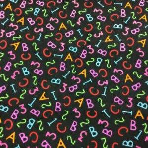 ABC Patterned Dress Fabric - Black