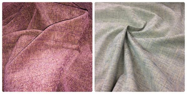 Chenille Curtain Fabric - Aubergine & Duck Egg - 148cm Wide