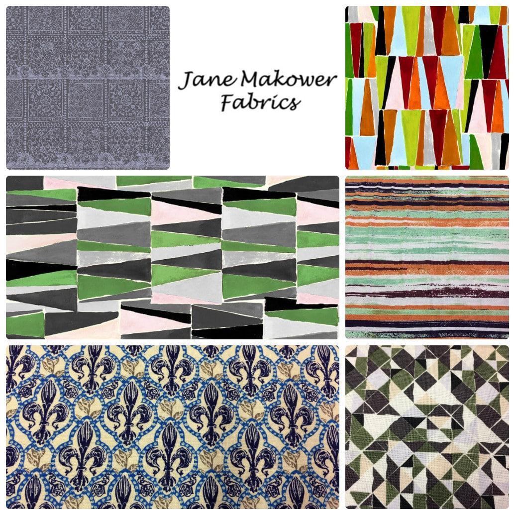 Jane Makower Dress Fabrics - Daisy, Circle, Switch, Cheetah - Switch CheckLime