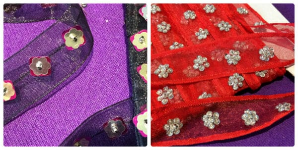 Black & Red Organza & Sequin Trim By The Metre