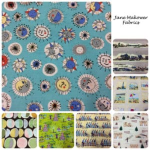 Jane Makower Dress Fabrics - Daisy, Circle, Switch, Cheetah - Switch CheckLime