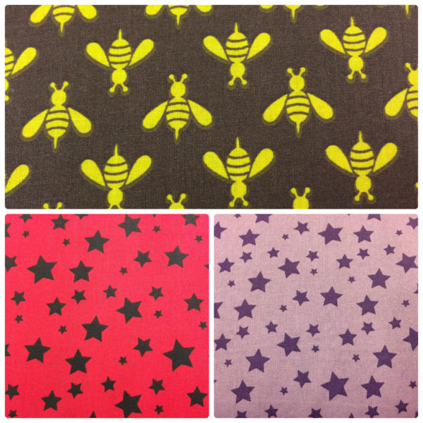 "Uploaded ToDress Fabric - Cotton - 54"" (135cm) Wide - Stars- Bees"