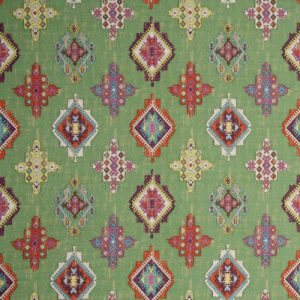 Dress Fabric green and red pattern