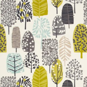 Dress Fabric yellow trees and leaves