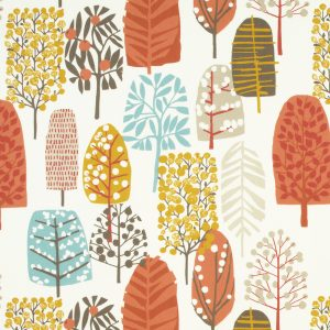 Dress Fabric trees and leaves orange