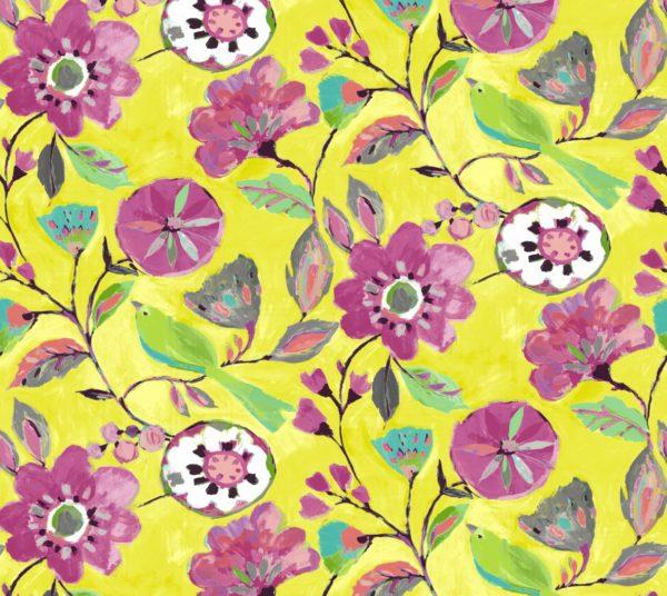 lemon floral cotton dress fabric