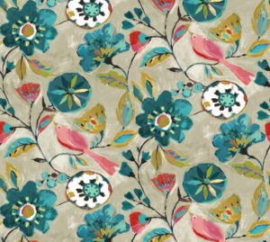 blue floral expressionist cotton dress fabric