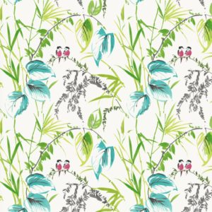 tropical painted lovebirds dress fabric