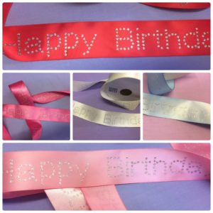 Happy Birthday Diamante Luxury Ribbon
