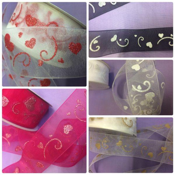 Organza Glitter Heart Luxury Ribbon - Cerise/Silver/Pink