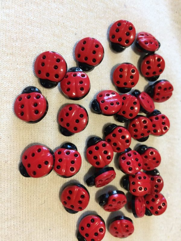 Black & Red Lady Bird Shaped Buttons - 10 Button
