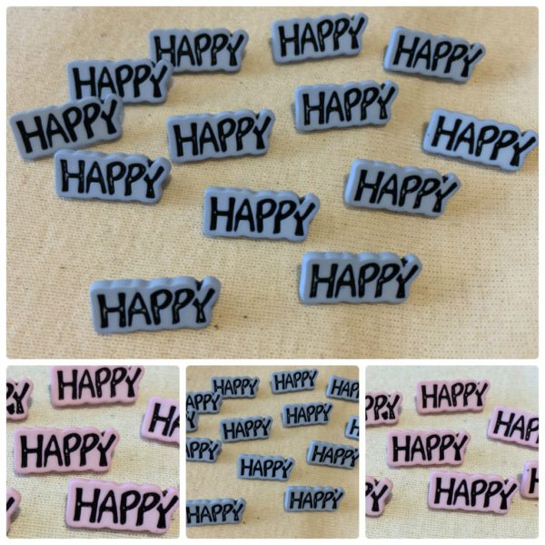 """Happy"" Buttons - Pink , Blue - Blue"