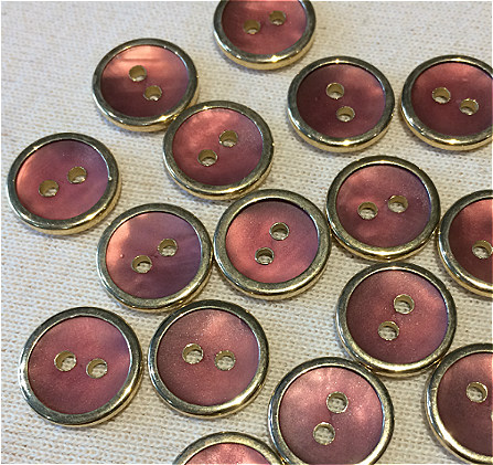 pink two hole cover buttons - gold rim