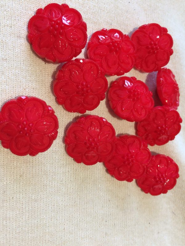 red flower cover buttons