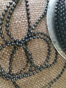 black beaded trim