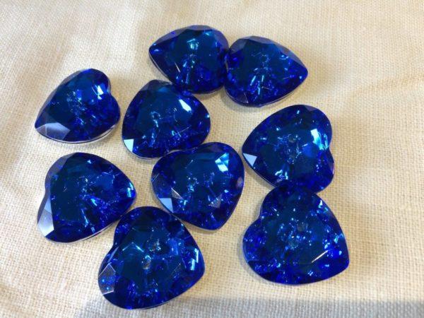 blue heart diamante buttons