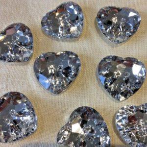 heart diamante buttons