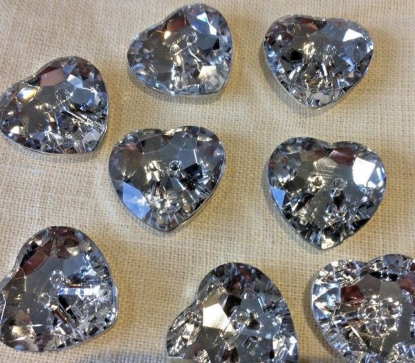 heart diamante buttons