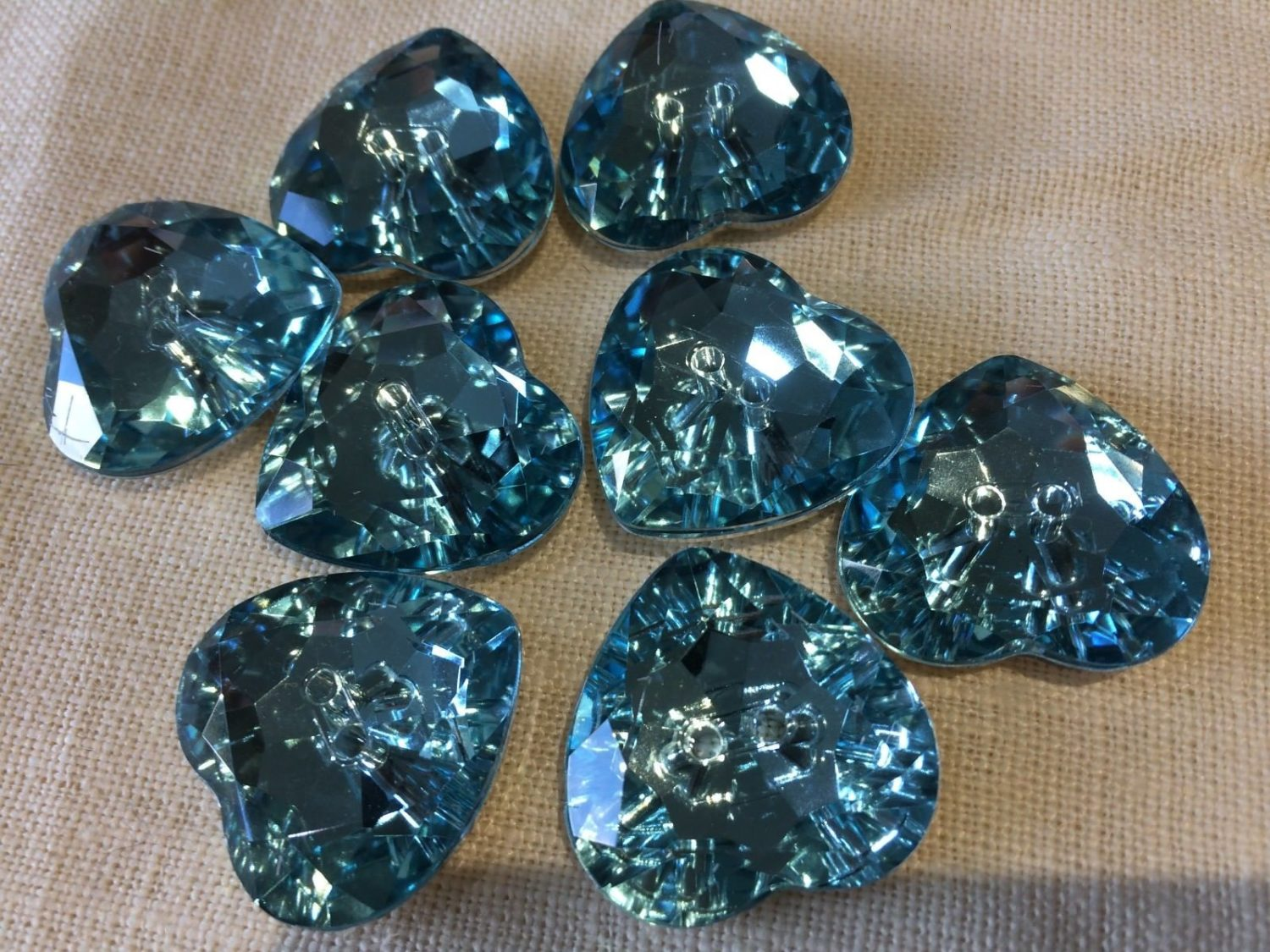 Large 2 Hole Turquoise Blue Sparkly Acrylic Crystal Heart Buttons - 29mm