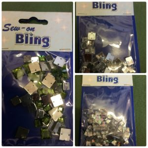 Sew On Bling Square Diamante Trimming 30 x 6mm - 20 x 8mm per packet