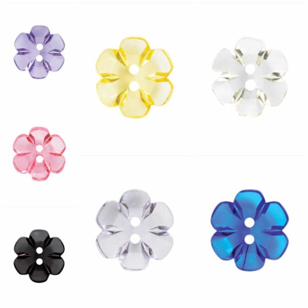 Fine Style Two Hole Transparent Floral Buttons Wholesale Packs 4 Sizes