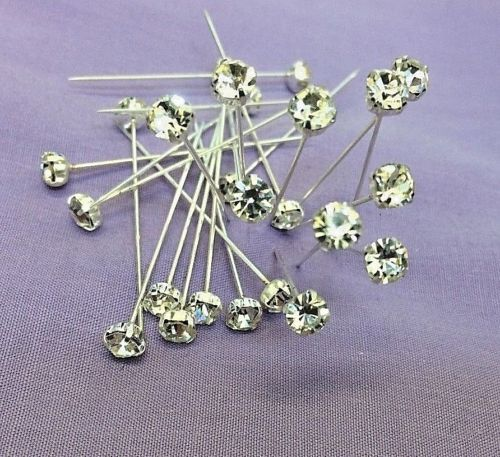 White Crystal Diamante Headed Dressmaking Craft Headed Pins 44 mm Long