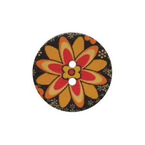 Fine Style Two Hole Wooden Floral Buttons Wholesale Packs - 25mm
