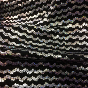 Sequined Patterned Silver & Black Micro Dot Lame Dress Fabric 150 cm wide