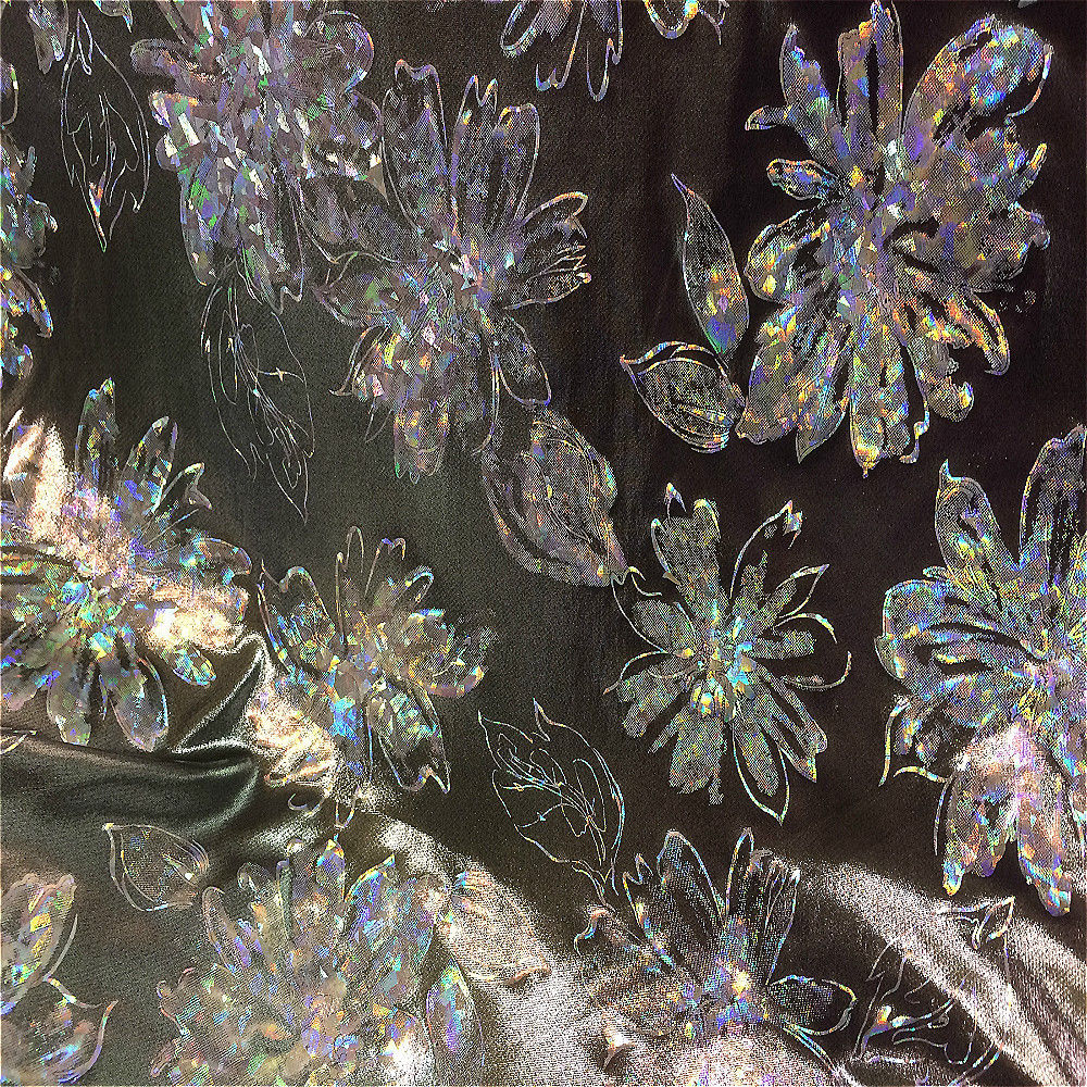 Floral Metallic Silver Patterned Micro Dot Lame Dress Fabric 145cm wide