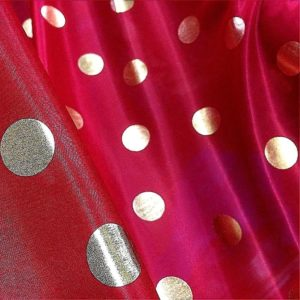 Red Gold Spotty Micro Dot Lame Dress Fabric 120 cm wide